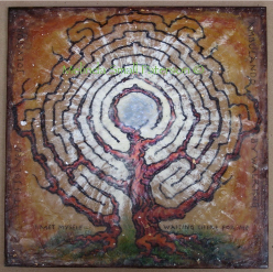 Rust Tree White Rays Labyrinth Painting by Melinda Small Paterson