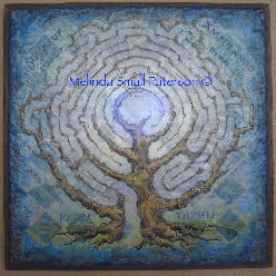 Blue Tree Labyrinth Painting by Melinda Small Paterson